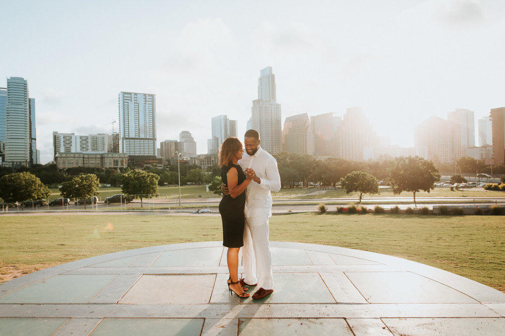 Happy couple at the Long Center in Austin