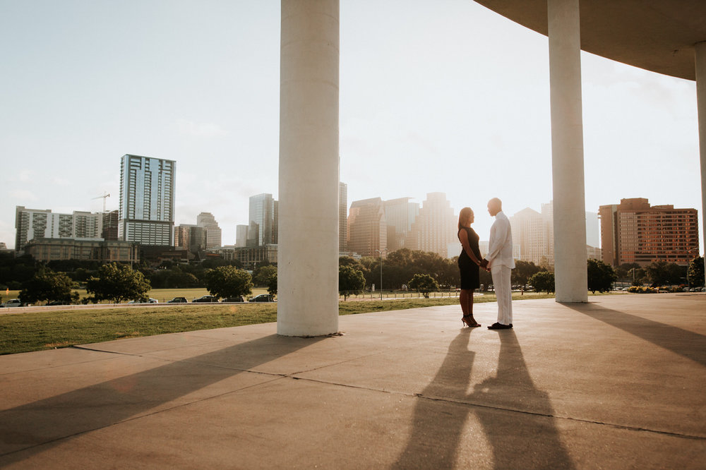 Happy engaged couple at the Long Center in Austin