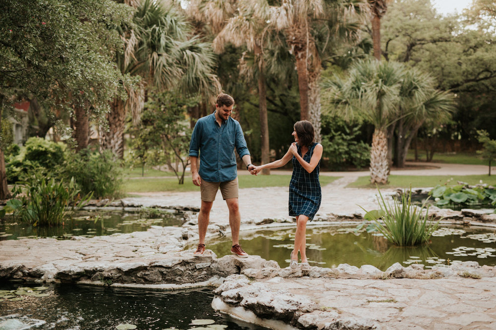 Happy engaged couple at Austin Mayfield Park