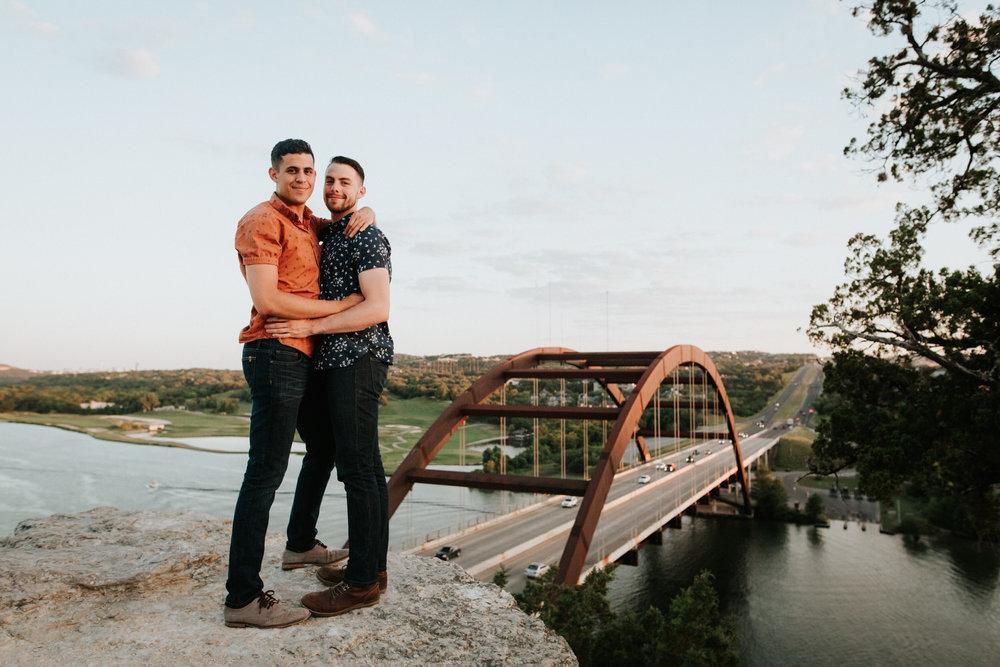 Happy engaged couple at Austin 360 Bridge