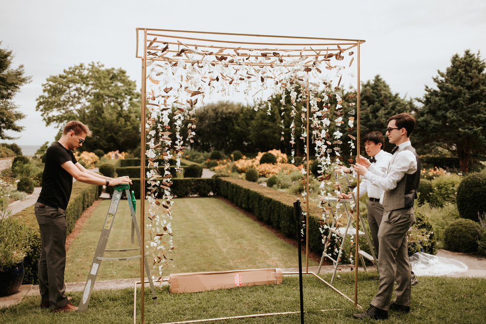 Getting arch ready for Eolia Mansion glamour wedding