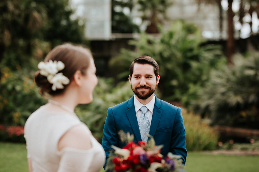 Couple at San Antonio Botanical Garden Wedding