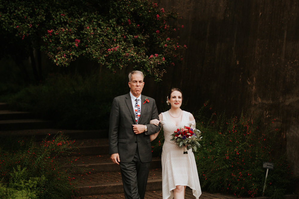 Bride walking down aisle at San Antonio Botanical Garden Wedding