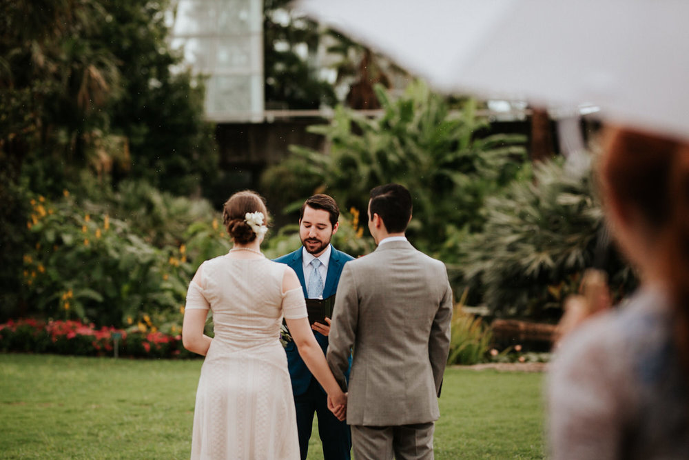 Couple getting married at San Antonio Botanical Garden Wedding