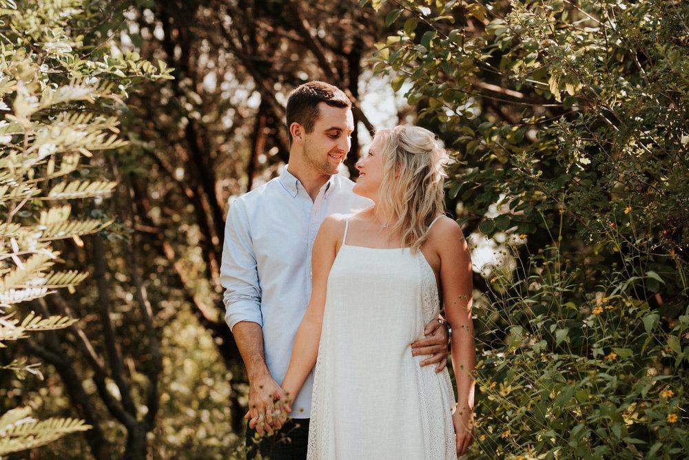 Engaged couple at Lady Bird Johnson Wildflower Center