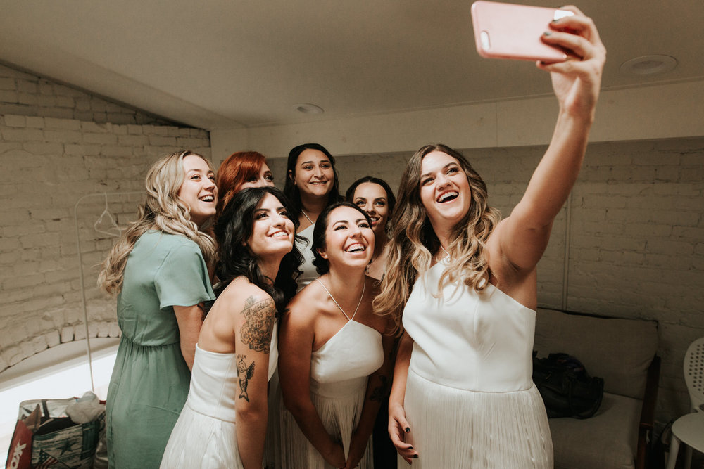 Bridal party before wedding at One Eleven East