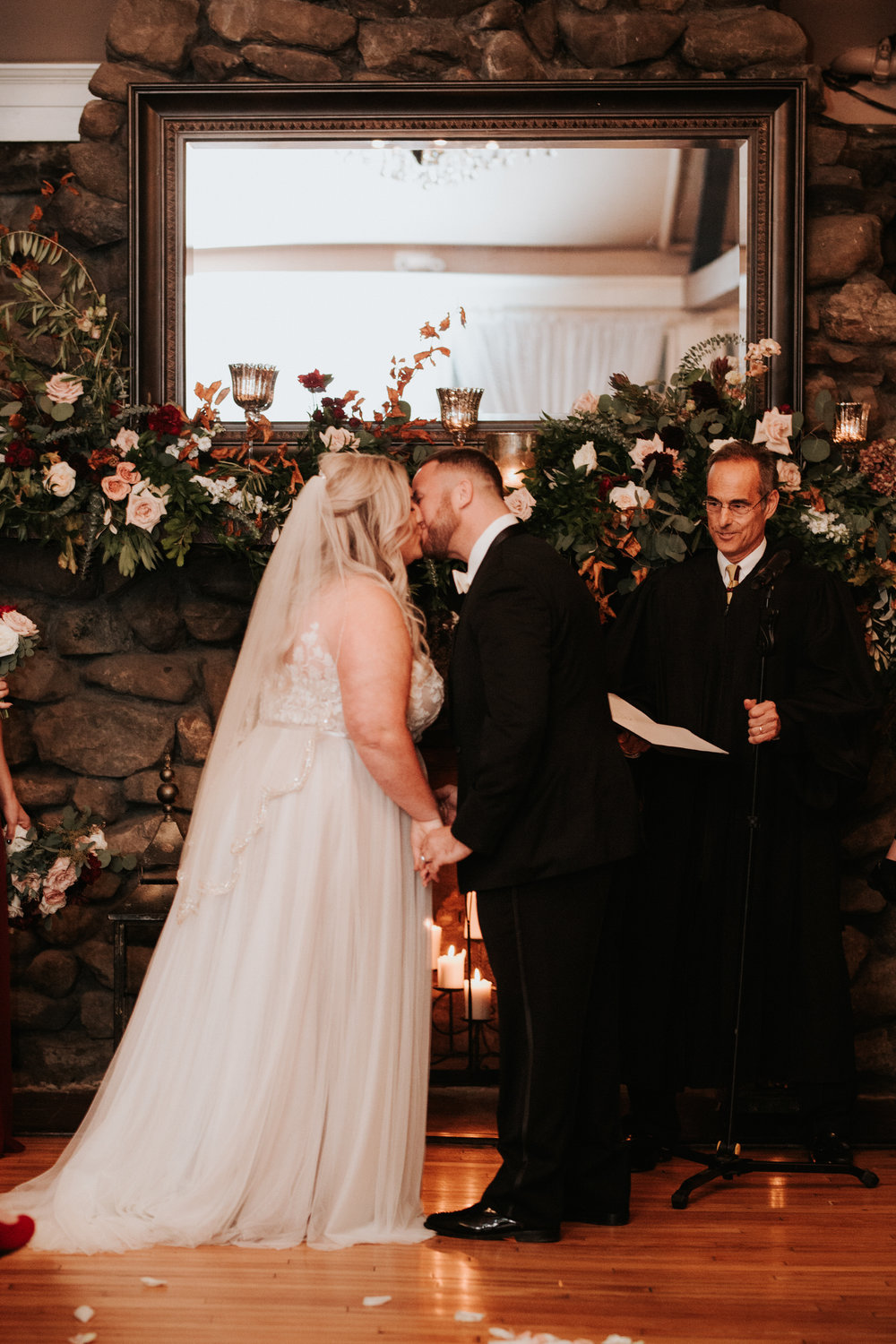 Bride and groom at Old Daley Schenectady wedding