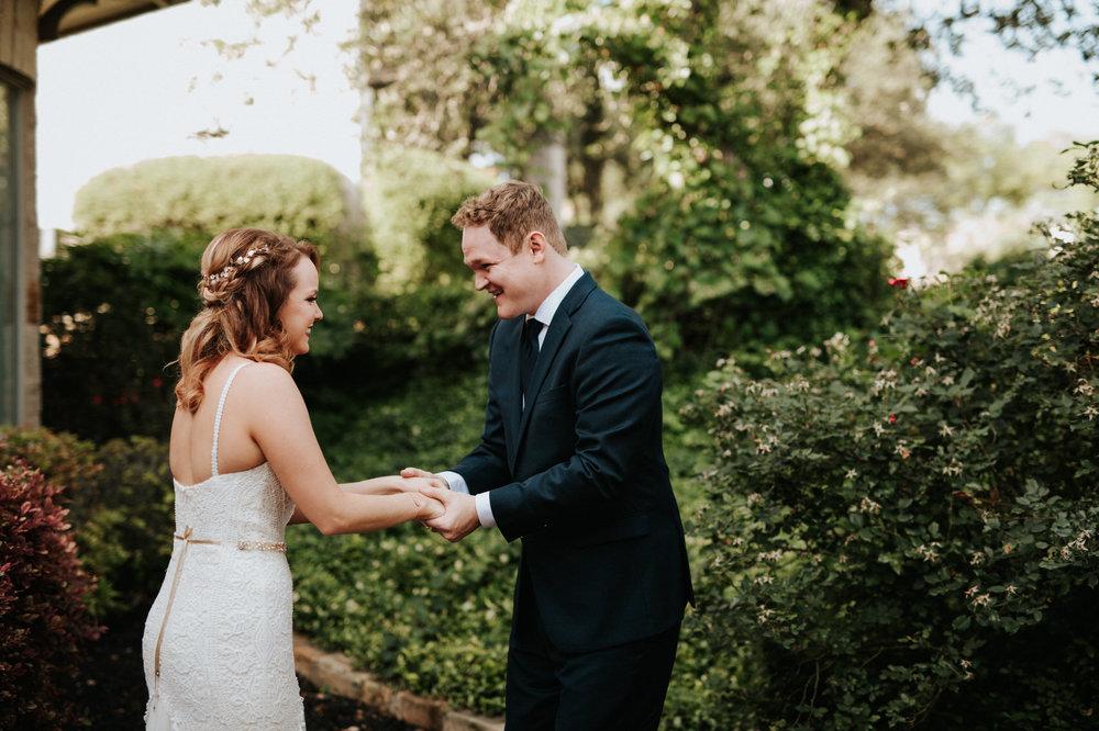 Austin luxury backyard wedding first look photos