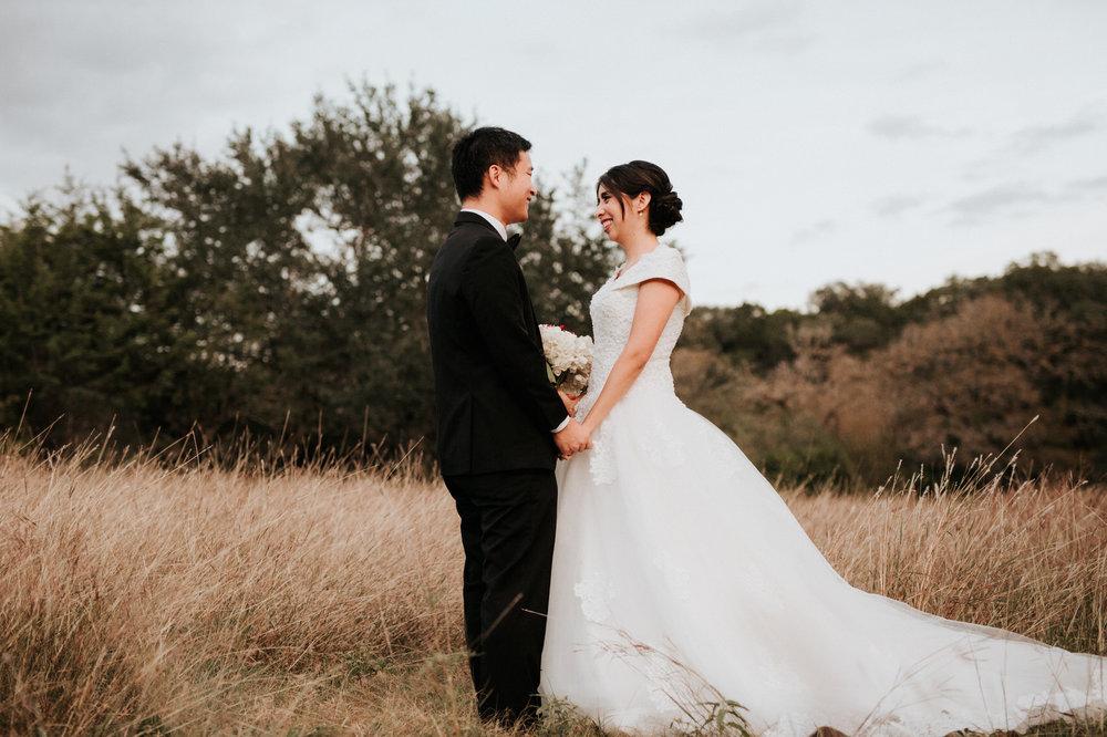 Austin Driftwood wedding couple