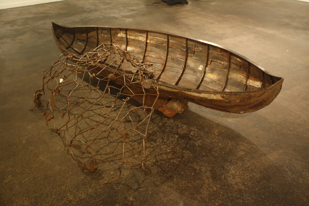 Forged and fabricated steel, copper, cast iron, 9' x 3' x 6'.