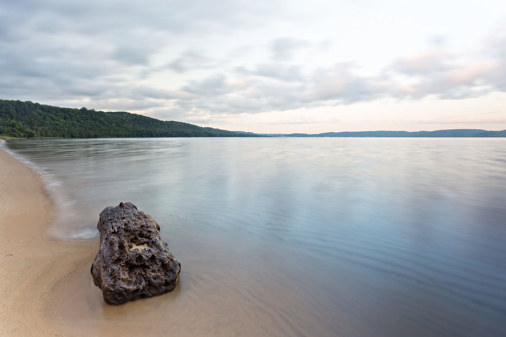 Dusk at Sand Point Beach (Looking North) - Pictured Rocks National Lakeshore, Munising MI  Canon 6D + Canon 17-40mm L