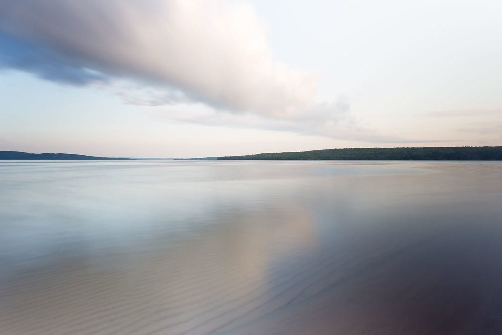 Dusk at Sand Point Beach (Looking South) - Pictured Rocks National Lakeshore, Munising MI  Canon 6D + Canon 17-40mm L