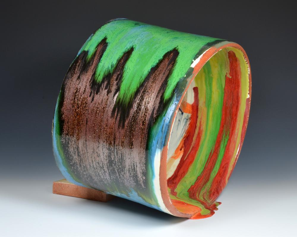 "Spilling Pipe,glazed ceramic, 2014. 17""h x 17""w x 17""d"