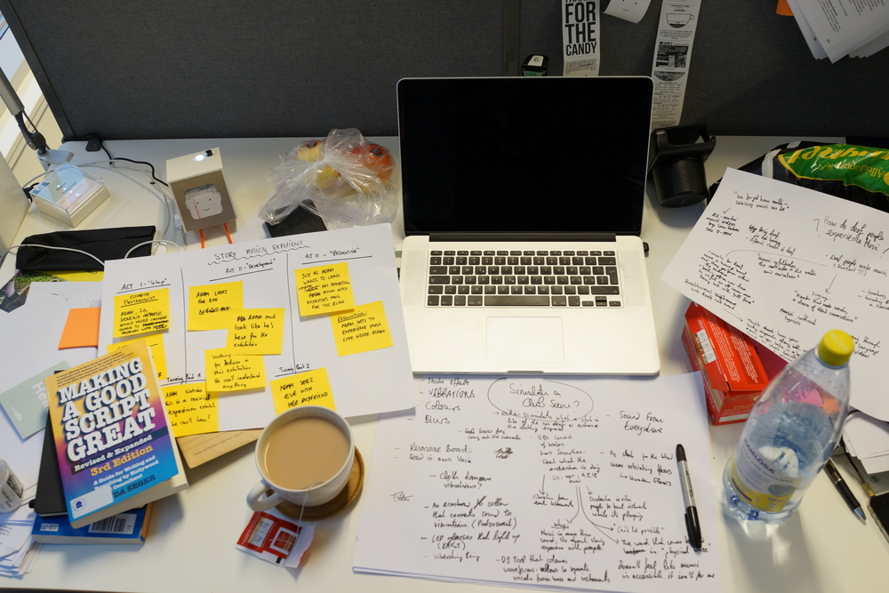 Embracing the creative chaos on my desk. Having a nice cup of English breakfast tea always helps.
