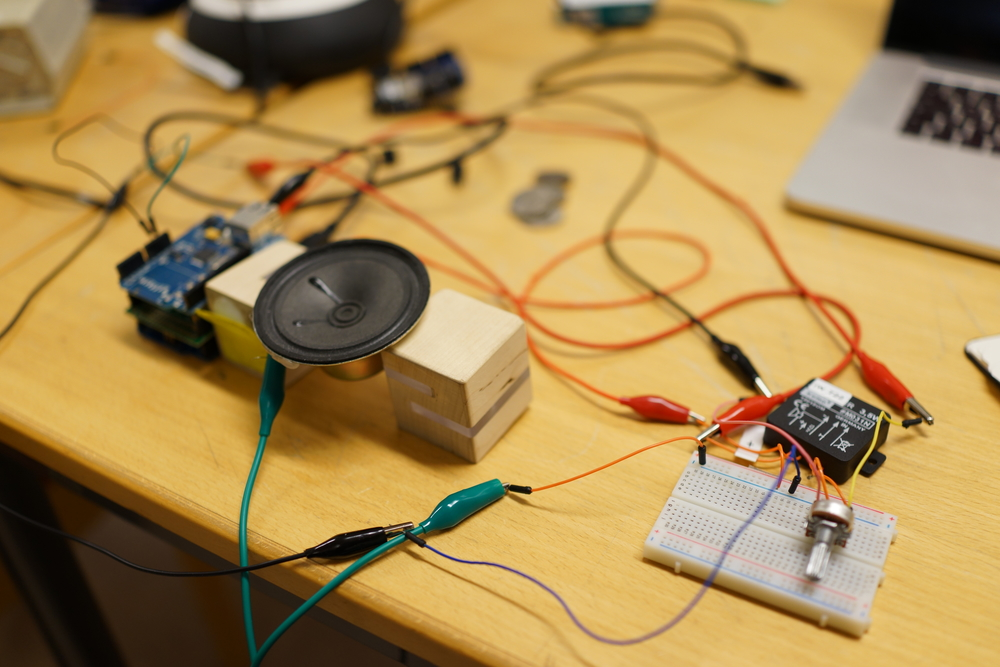 Getting Arduino to play MP3 sounds using shields, an amplifier and mono speaker.