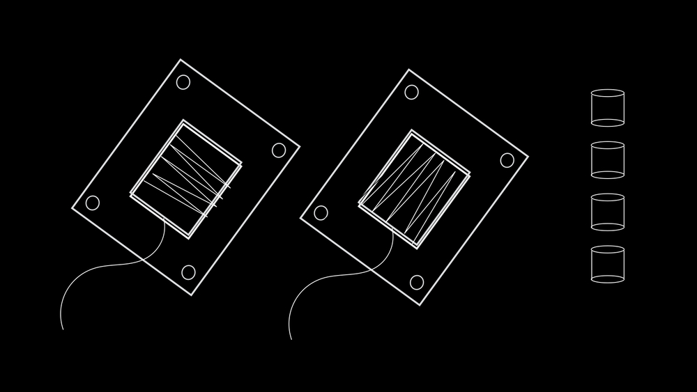 Illustration showing the bottom and top plates that I made for the sofa button. Note the inset wires.