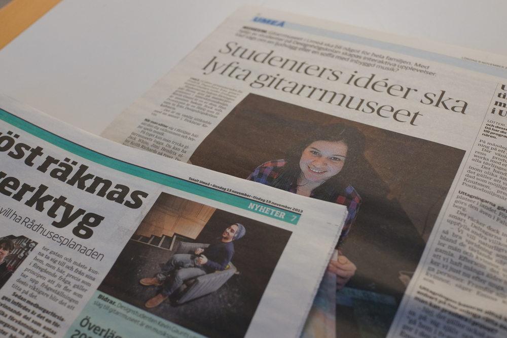 "Quoted in  ""Västerbottens Kurieren""  in its Saturday Edition  (full page)  and the weekly  ""Totalt Umeå"" ."