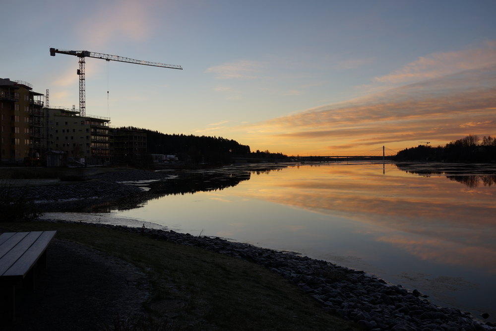 The view towards the Umeå Bridge before the sun rises. I often take this way when walking to school.