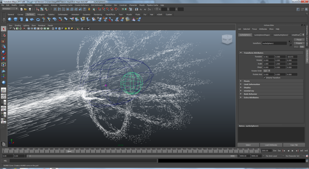 Using Autodesk Maya to build a 3D particle system that deflects when hitting the earth's magnetosphere. Unfortunately, there was not enough time to add these particles to the final video.