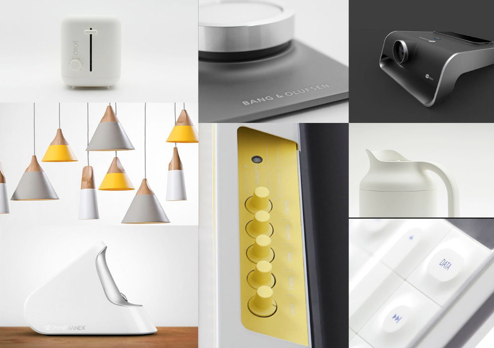 Our mood board gave us a common understanding of what the form language ought to convey. We were inspired by minimal and clean products. We thought a bright yellow would convey a positive image.