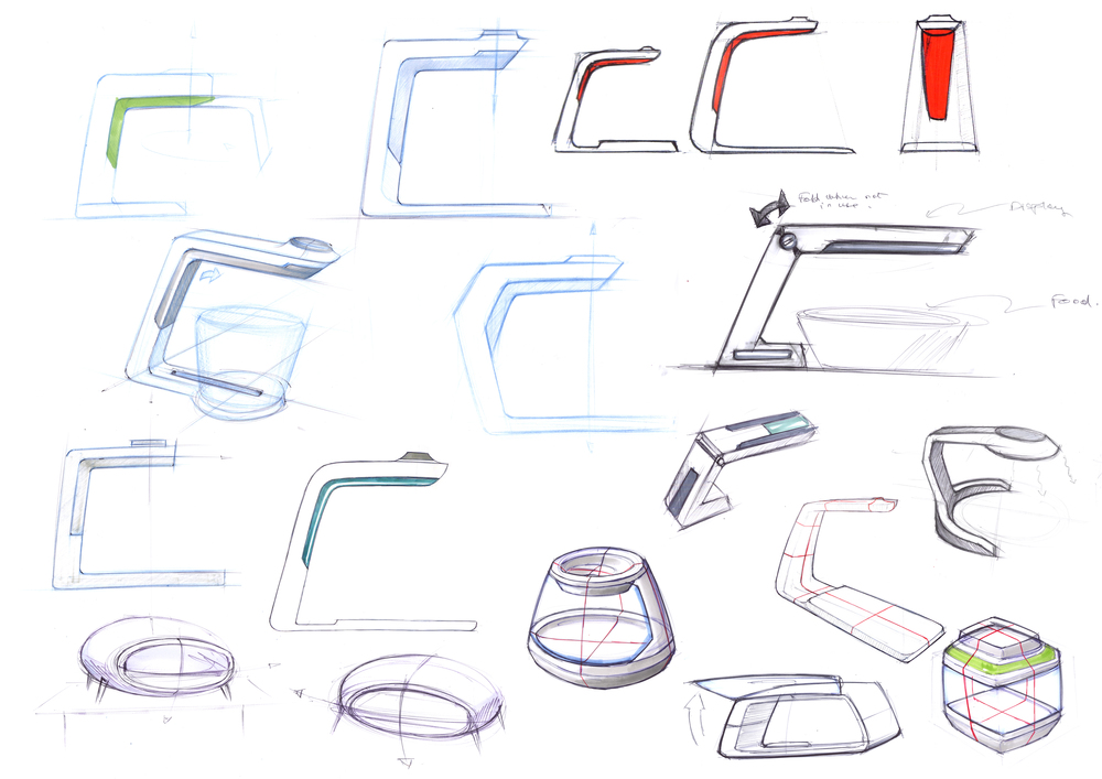 In our sketches we explored different forms. We agreed that we needed a compact design that would not take much space on the kitchen counter.