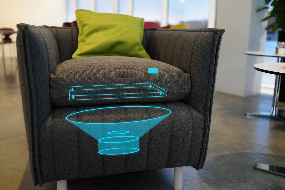The idea was to integrate a subwoofer, a sensor that senses when people sit down or get up, and an Arduino microprocessor within a chair. The subwoofer would then generate enough vibrations to make for an unique musical experience.