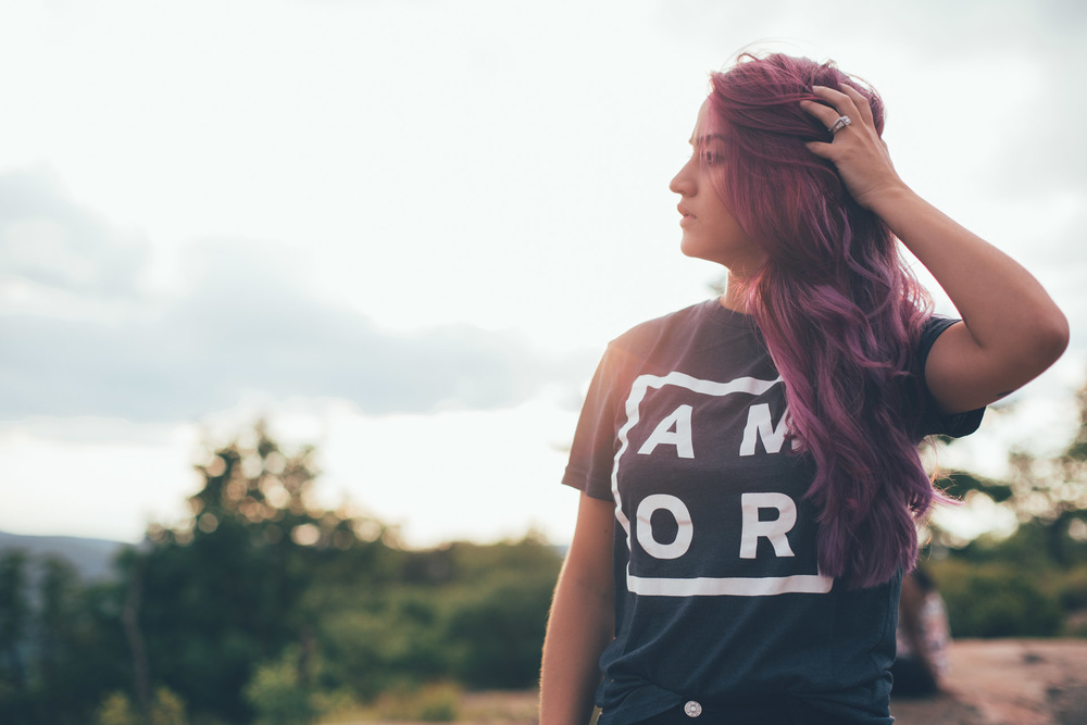Amor - Love - Tattoos - Purple Hair