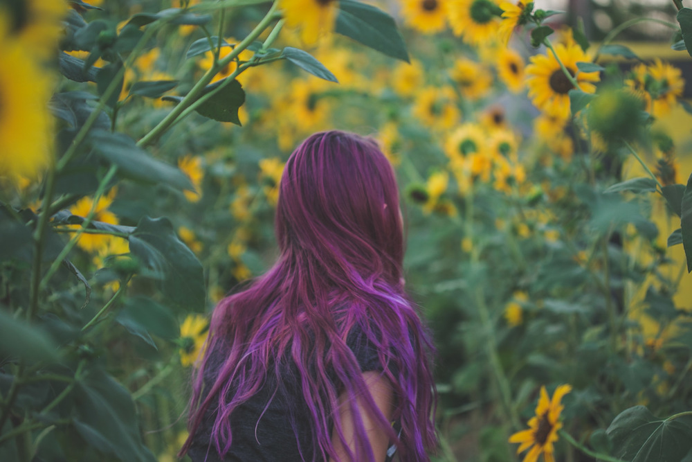 purple hair - star wars - sunflowers - tattoos
