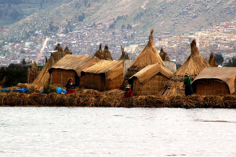 The floating islands of Lake Titicaca, Peru