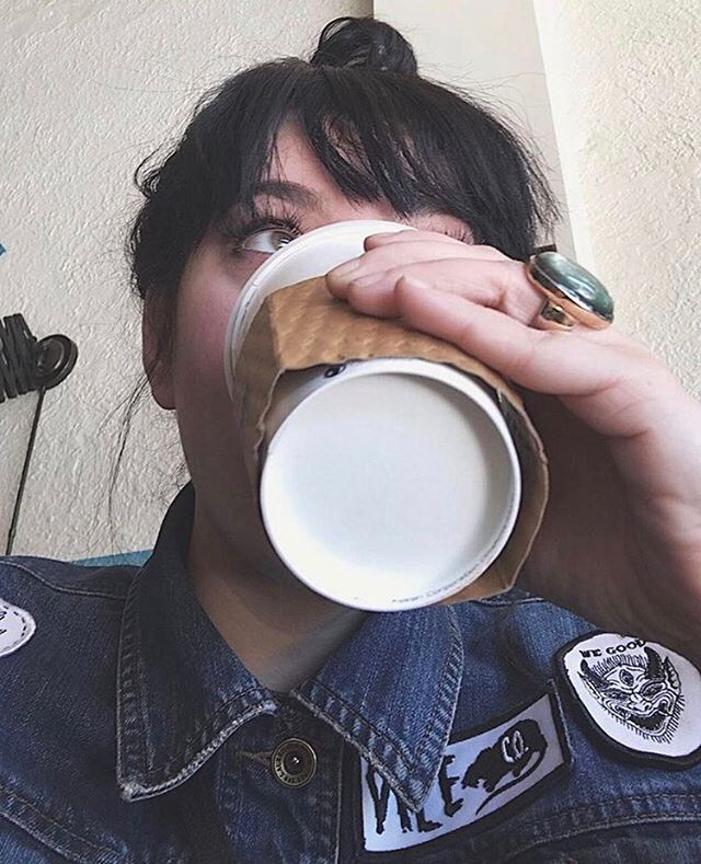 @littlehoneydip getting her morning drink on while Reno our Vile Rat Patch! Thanks miss 🤘🏻❤🤘🏻#vile #vileco #vilecompany www.vilecompany.com