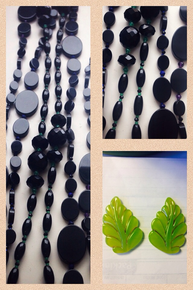 onyx long strands with gem accents! And clip leaf earrings for Gumps to sample for their Style Holiday catalog.