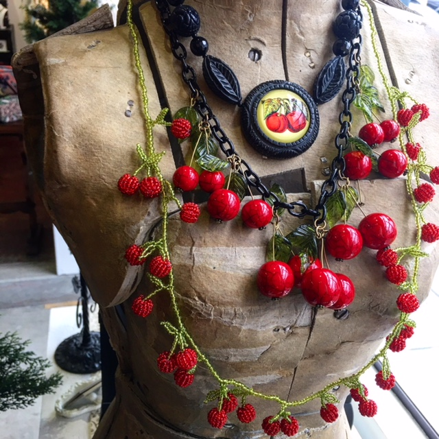 Cherry Jubilee! Resin Cherry necklace, Resin cherry necklace, beaded long cherry necklace.