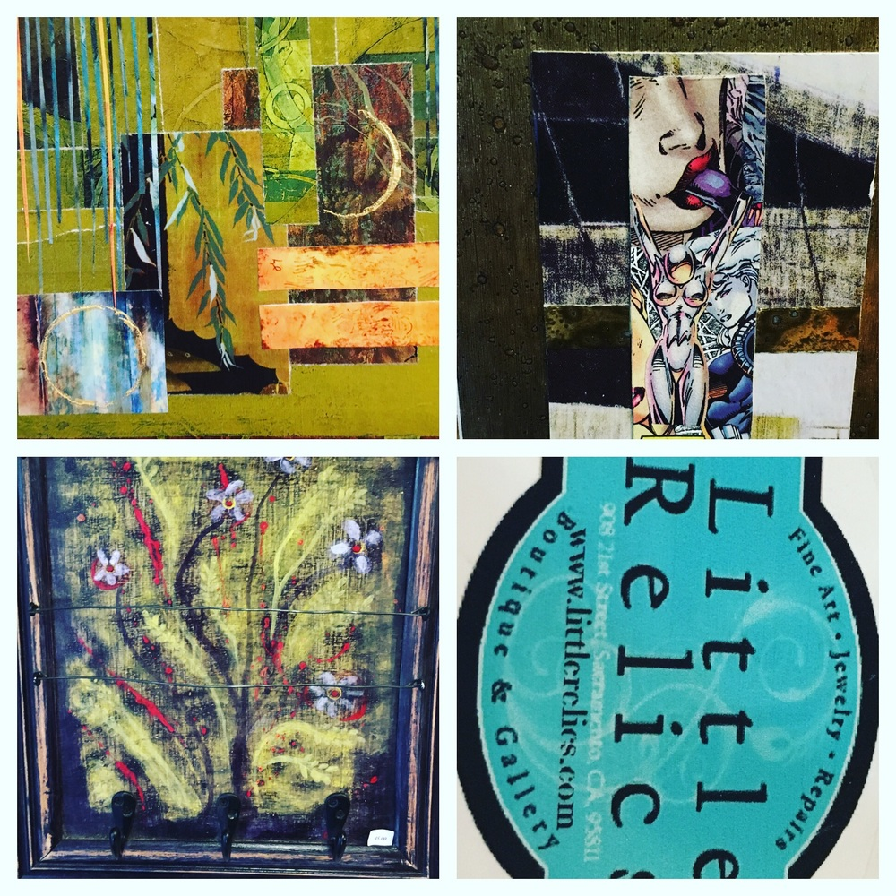 Collage by Jill Alkyn Stafford (above), Jewelry Holder by Elizabeth Wocasek (lower left)
