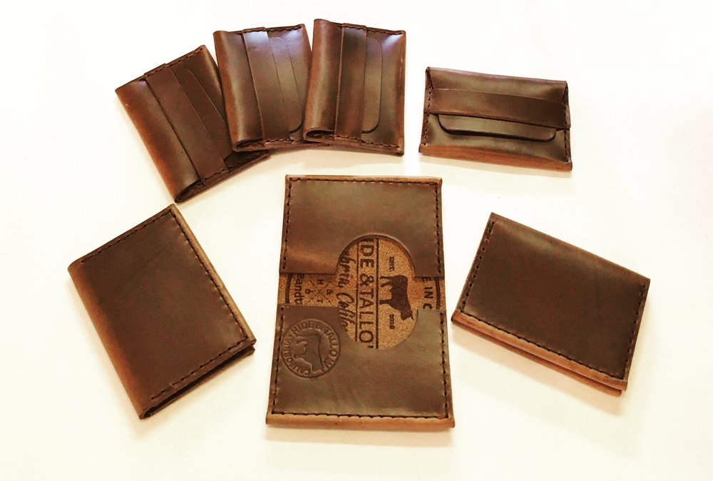 Handmade leather wallets by Hide & Tallow