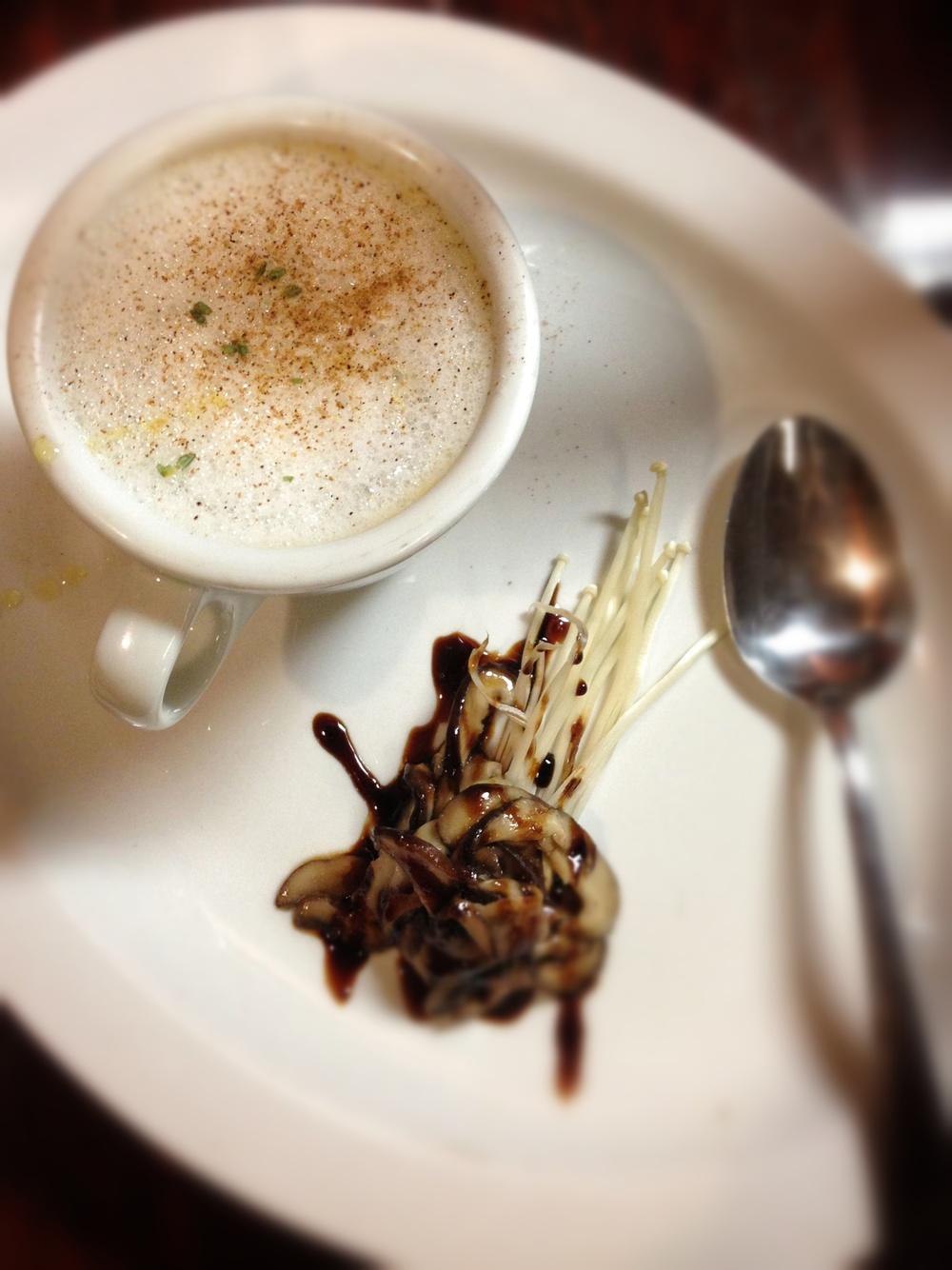 Mushroom Cappuccino: Wild Mushroom Consume, Porcini Dust