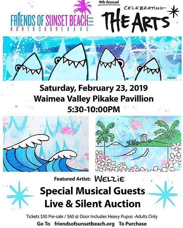 Help support Friends of Sunset Beach at their annual Celebrating the Arts fundraiser happening @waimeavalleyoahu on Saturday, February 23rd. Heavy pupus provided by @kenuikitchen ! You can purchase your tickets  today on their website: www.friendsofsunsetbeach.org #kokua #supportlocal @friendsofsunsetbeach