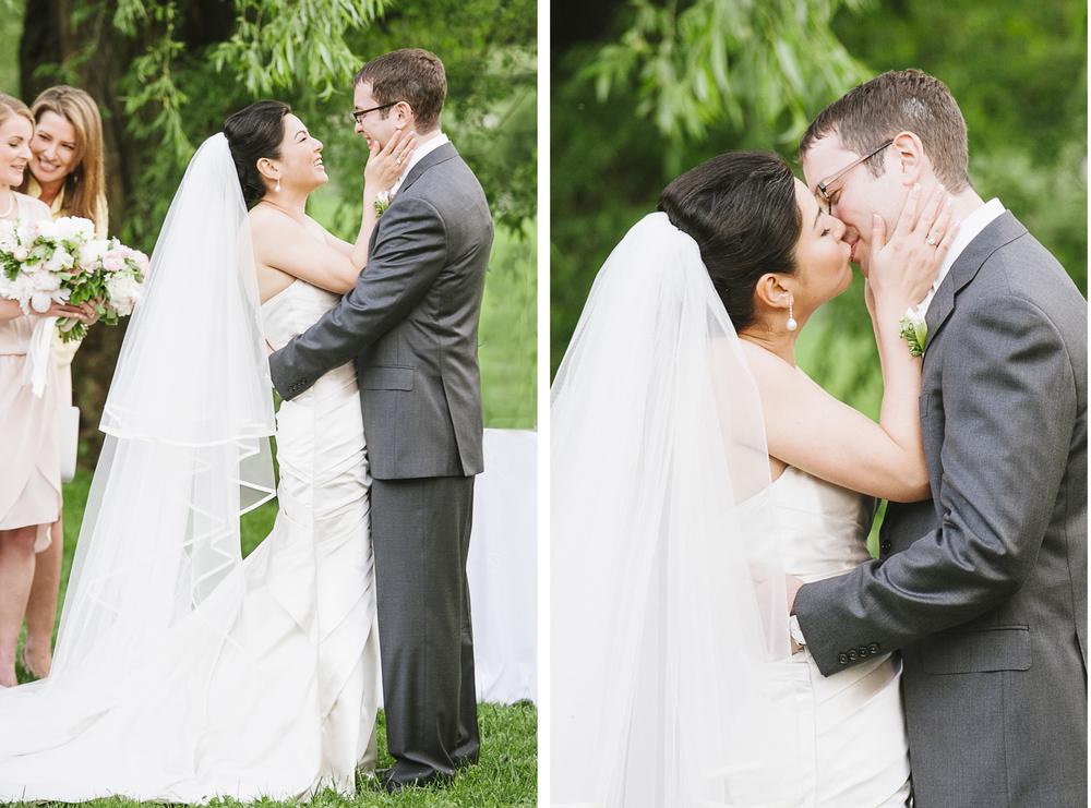 Brooklyn Botanic Garden Wedding Ceremony First Kiss