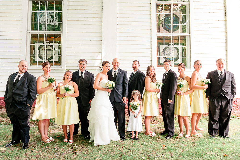Albany NY Farm Wedding Bridal Party Yellow