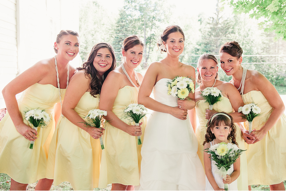 Albany NY Farm Wedding Bridesmaids Yellow