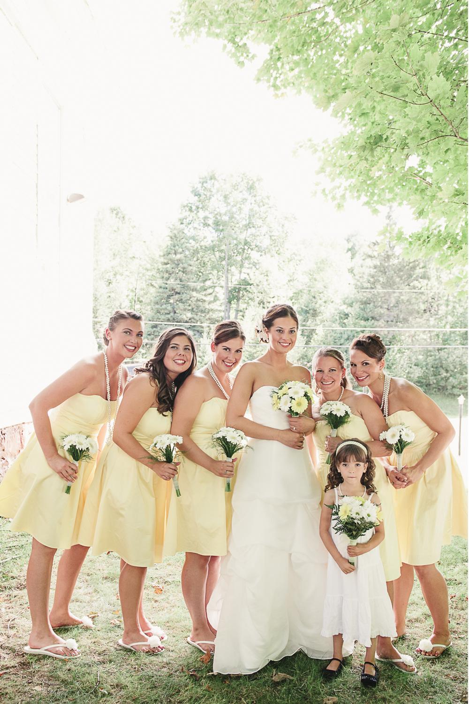 Albany NY Farm Wedding Bridesmaids Yellow