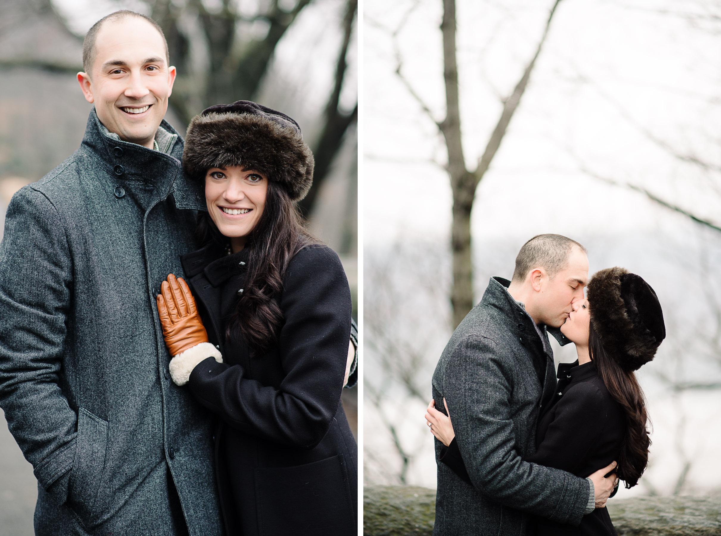 Cloisters Fort Tryon Park Engagement Photography Faux Fur Hat