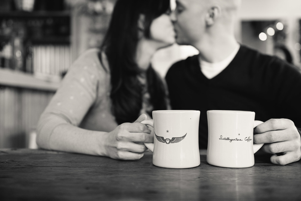 Jersey City New Jersey Rainy Day Engagement Photography at The Warehouse Coffee Shop
