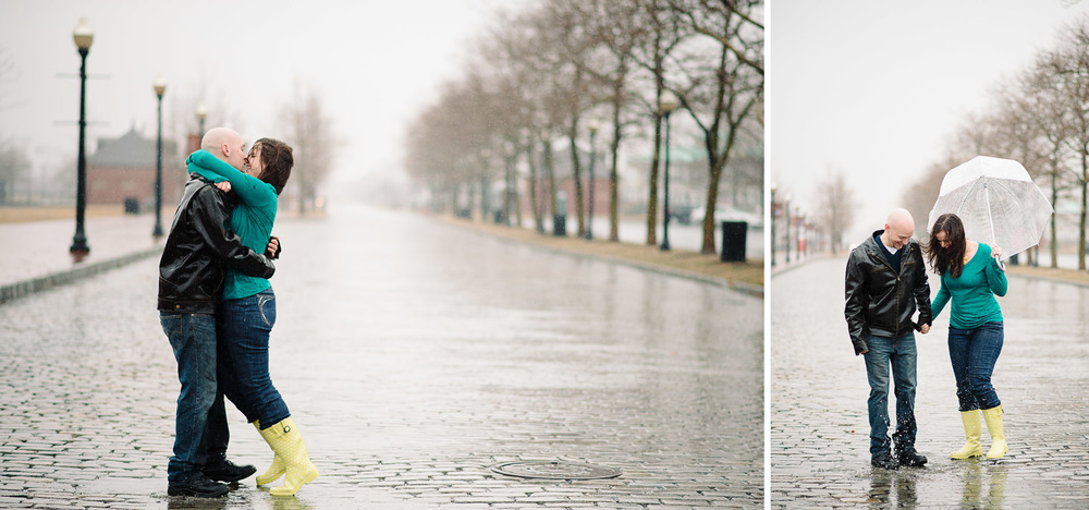 Jersey City New Jersey Rainy Day Engagement Photography with Umbrella