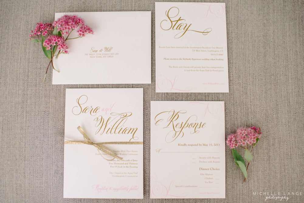 Gold Pink Bow Invitations Aqua Turf Club Plantsville CT Wedding by Michelle Lange Photography 1