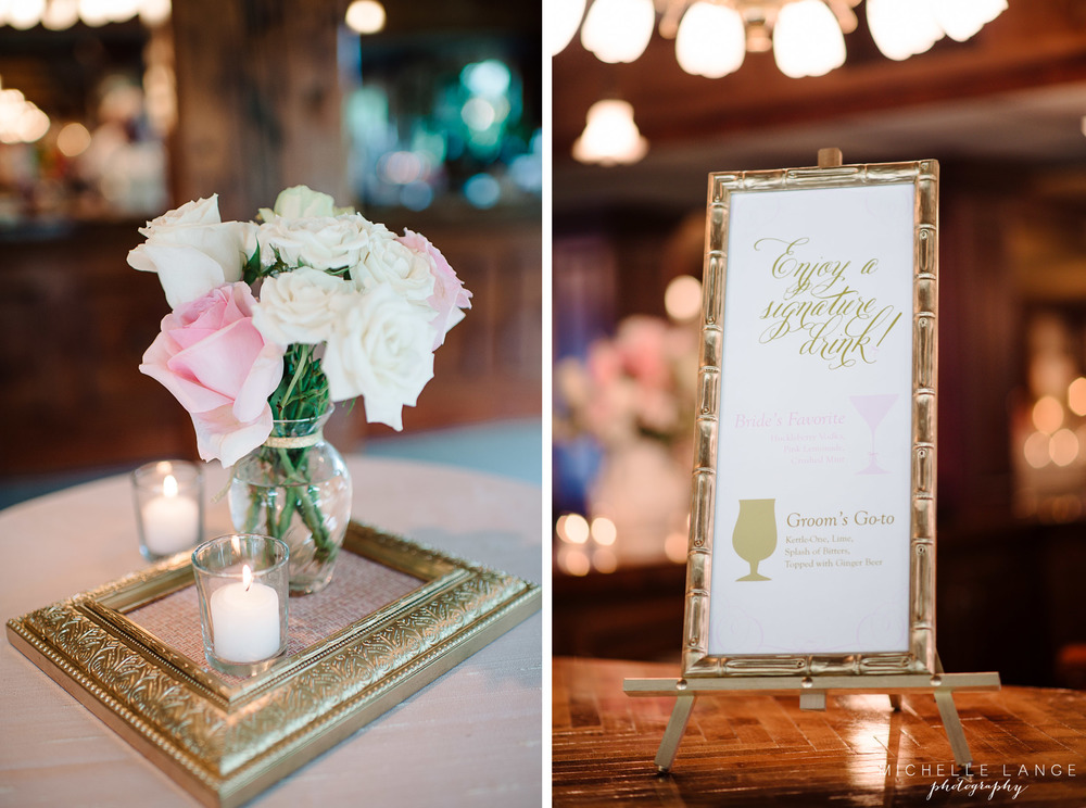 Pink, White and Gold Drink SignAqua Turf Club Wedding by Michelle Lange Photography 28