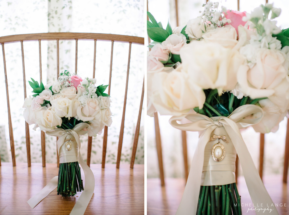 Handmade White and Gold Bouquet Grandmother Charm Aqua Turf Club Plantsville CT Wedding by Michelle Lange Photography 4