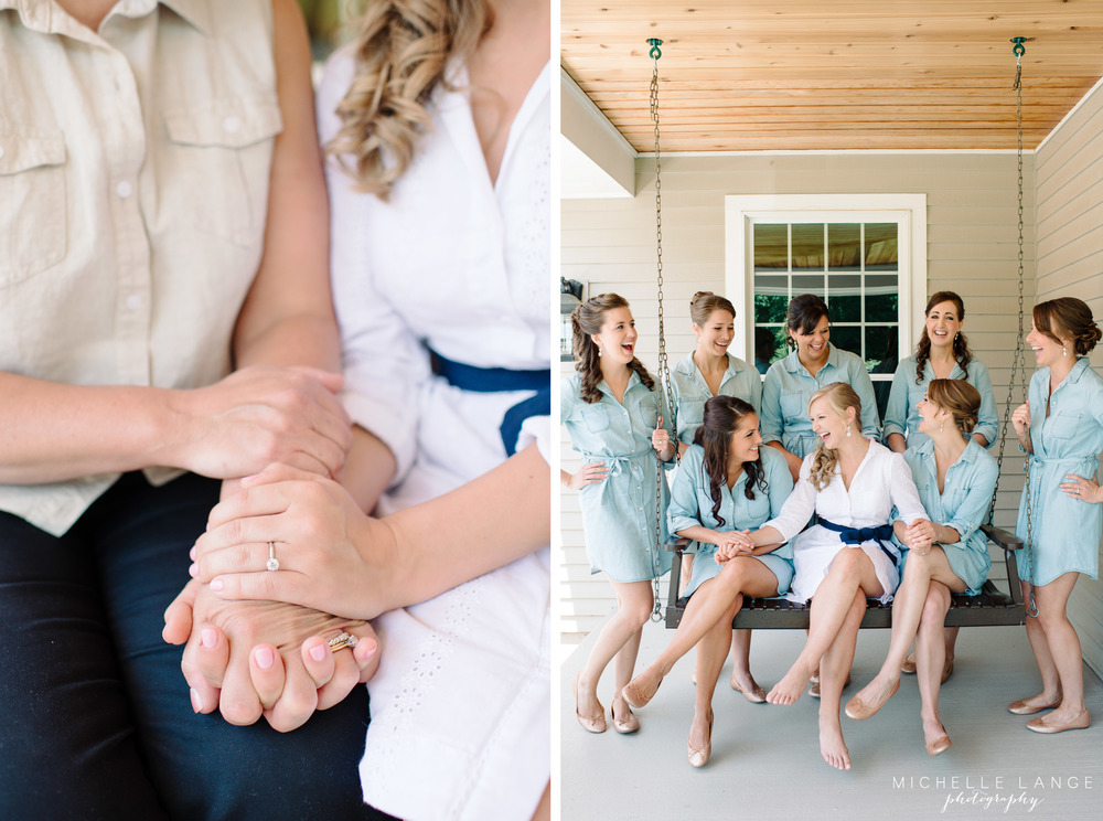 Denim Bridesmaid Belted Shirt Dress Aqua Turf Club Plantsville CT Wedding by Michelle Lange Photography 5
