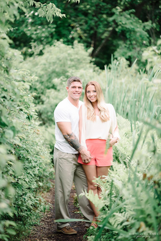Bride and Marine Groom Celery Farm Allendale NJ Engagement Michelle Lange Photography