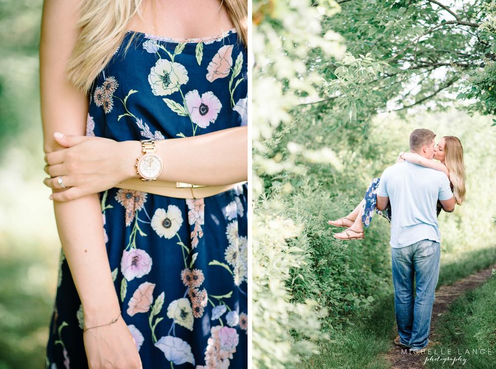 Gold Jewery Maxi Dress Celery Farm Engagement Allendale NJ Michelle Lange Photography