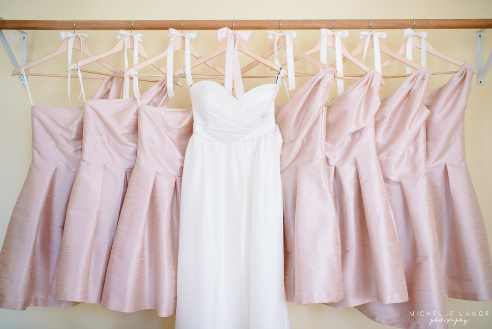Jenny Yoo Bow Wedding Dress and Alfred Sung Bridesmaid Dresses by Michelle Lange Photography